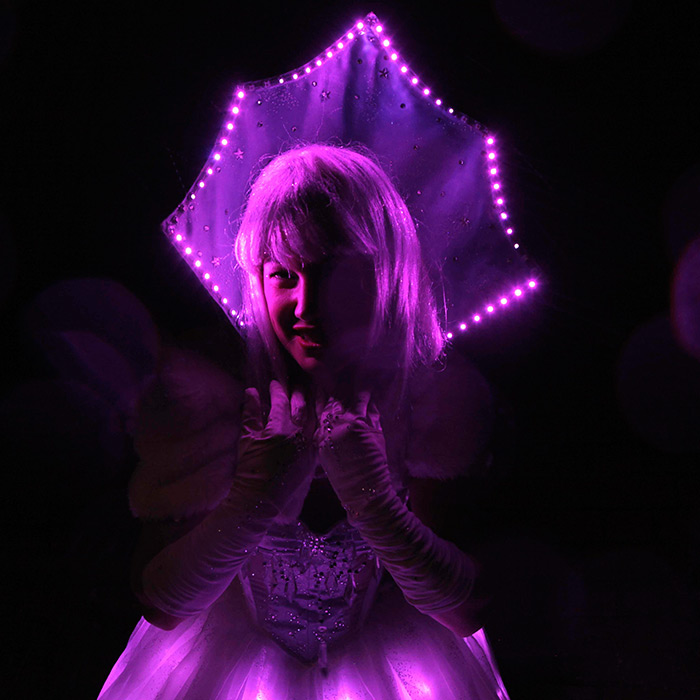 led snow queen stiltwalker
