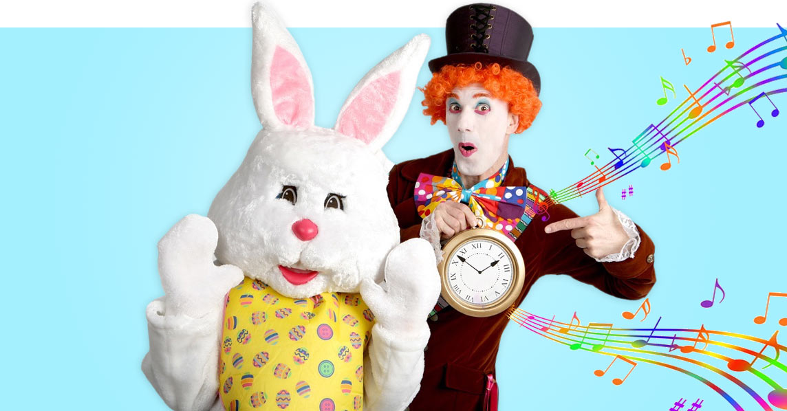 Mad hatter and bunny easter walkabout act!