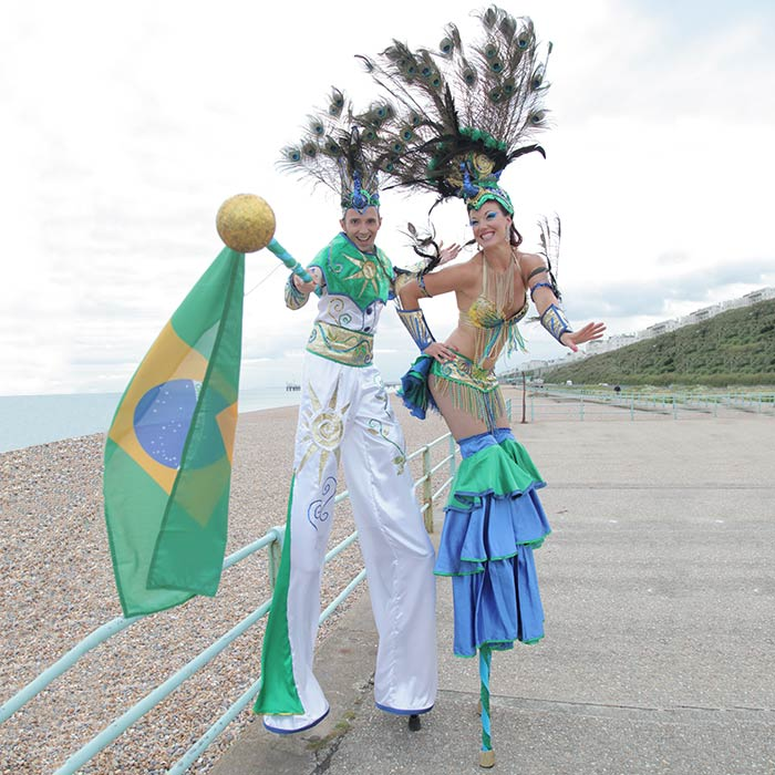 rio carnival stiltwalking duo